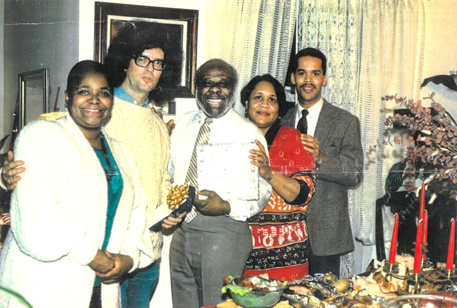 I had the pleasure of being a guest of honor, along with Rufus Thomas, at Thomas's birthday dinner given by Eugene Phillips. Judging by my hair, this should be the late '80s or early '90s. I'm with Carla Thomas, Rufus Thomas, Willie Bland and Ethan Taylor. - MICHAEL DONAHUE
