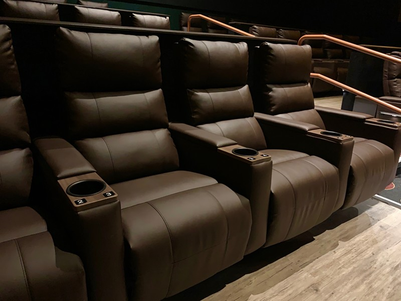 Most of the theaters in the new Powerhouse Cinema Grill are equipped with recliners.