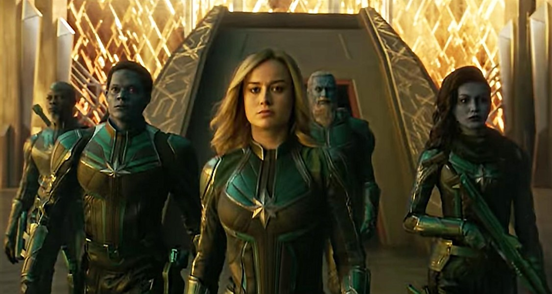 Brie Larson (center) is perfectly adequate as Captain Marvel.