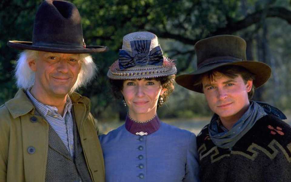 Christopher Lloyd, Mary Steambergen, and Michael J. Fox in Back To The Future 3