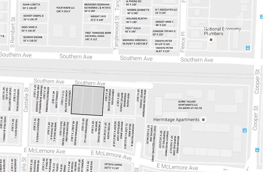 This map shows where the OUTMemphis youth homeless shelter will be located.