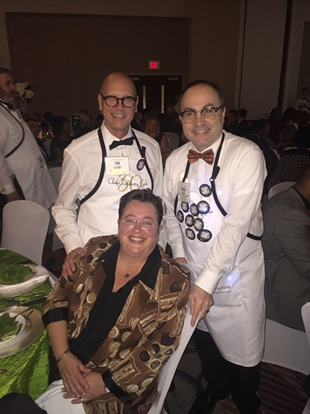 """Tom Clifton, Whitney Jo, and Michael Detroit were at the Chefs' Celebrity Gala. A total of $250,000 was raised at the 30th annual gala, a fundraiser for the Memphis Child Advocacy Center. The event, held October 30th at Holiday Inn at the University of Memphis, included a """"Star Chart"""" that tells how many years chefs have served. Jim Prentiss Jr. has the most seniority - 29 years. - MICHAEL DONAHUE"""
