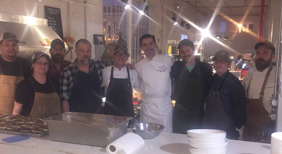 Chefs, including Brad McCarly, Nick Scott, Franck Oysel, and Dave Krog took part in a City Block butcher's dinner, which was held October 17th at Puck's Food Hall. - MICHAEL DONAHUE