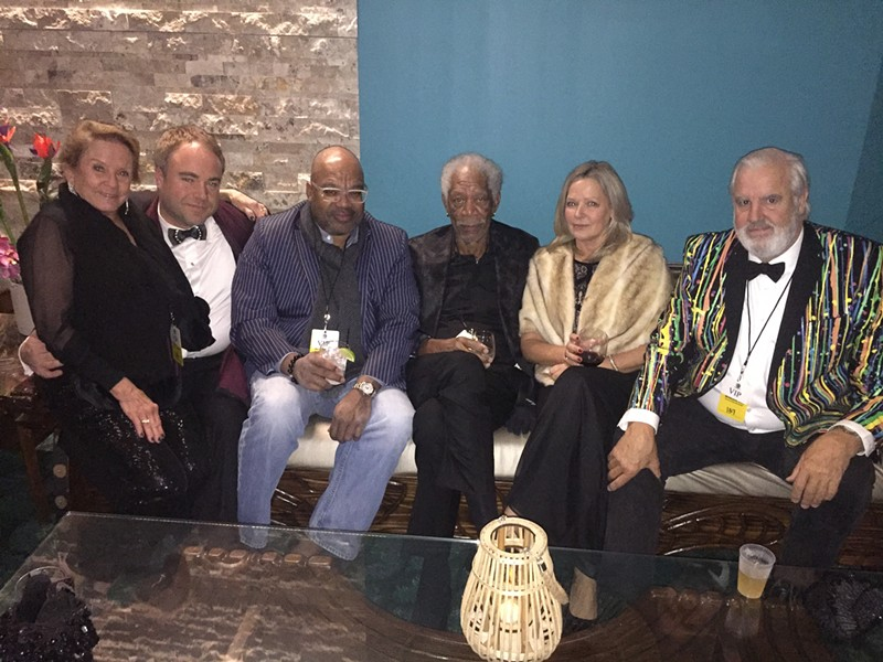 Attending the Moonshine Ball: Francine Luckett, Alston Meeks, Dr. Derek Miles, Morgan Freeman, Dr. Linda Keena, and Bill Luckett. - MICHAEL DONAHUE