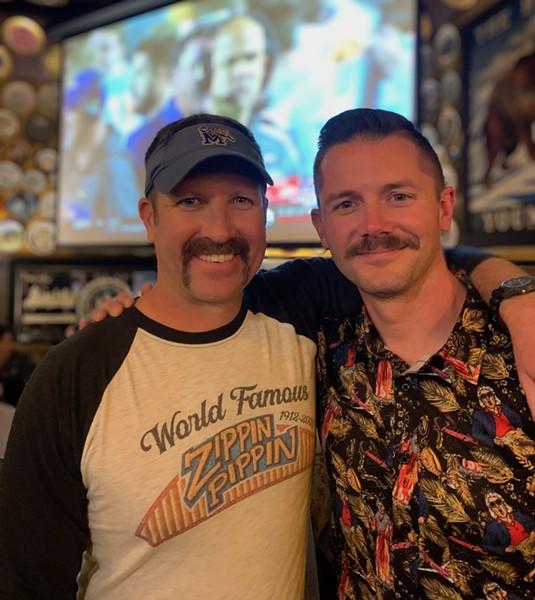 Stephen Zachar and Jensen Pilant at Mustache Bash. - MICHAEL DONAHUE