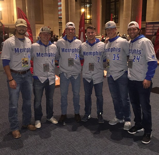 Members of the University of Memphis Tigers baseball team assisted at Memphis Cornhole Challenge. - MICHAEL DONAHUE