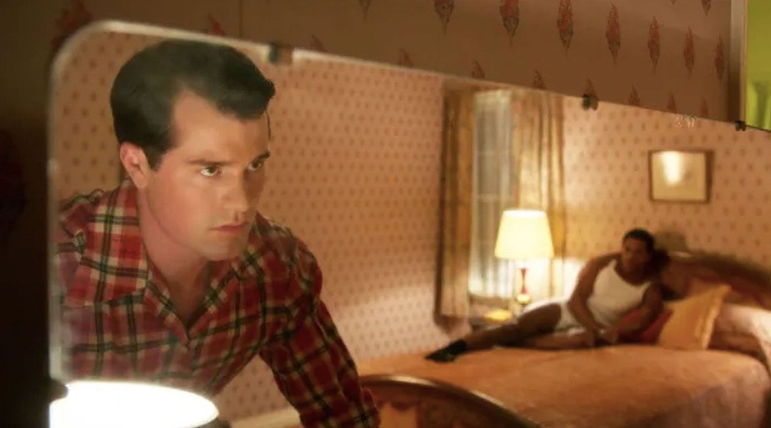 Jake Picking (left) as Roy Fitzgerald, aka Rock Hudson.