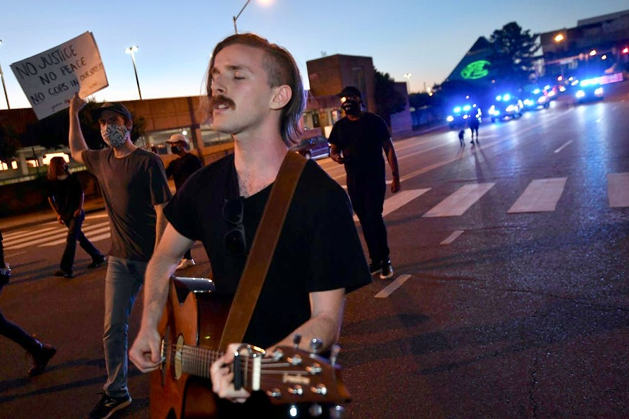 Jacob Davis in a protest march in Memphis.