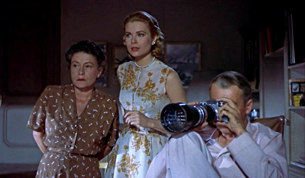 Thelma Ritter as Stella, Grace Kelly as Lisa, and Jimmy Stewart as Jeff.