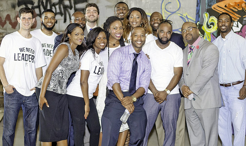 Mickell Lowery, candidate for Super Distict 8, Position 3, with supporters. Sharing the frame (top row, 4th from left) was John Marek, newly embarked on a Council campaign in District 5.