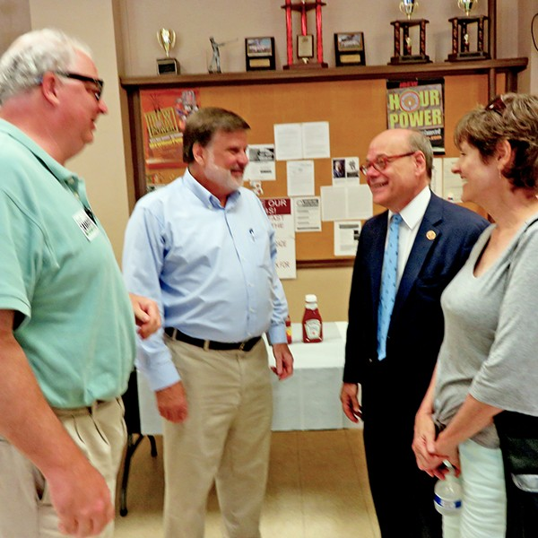 U.S. Rep. Steve Cohen  (second from right) at Saturday fish fry event for Super District 9, Position 2 Council candidate  Paul Shaffer (second from left). Others are Jeff Sullivan and Carol Risher. - JB