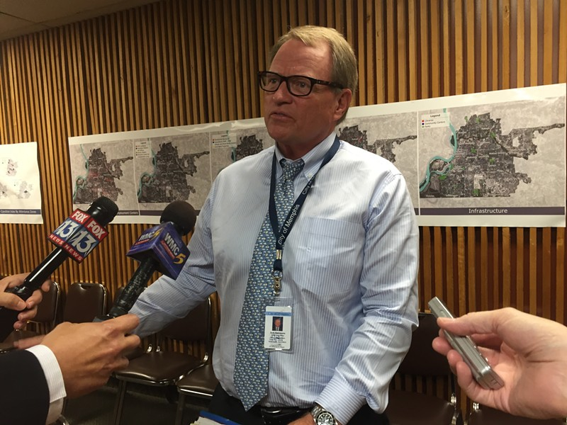 Memphis Chief Administrative Officer Jack Sammons talks to the media Wednesday morning. - TOBY SELLS