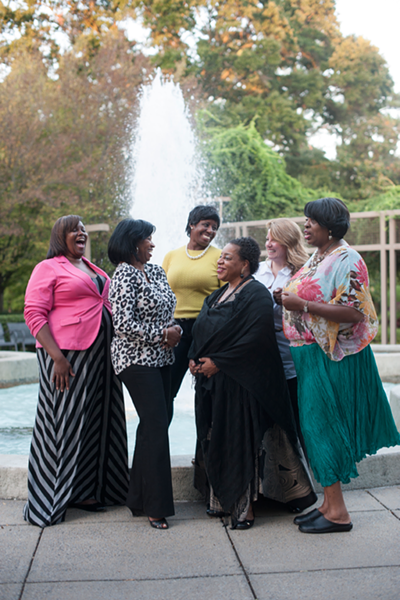 A few LBD committee members and volunteers. Front Row, Left to Right: Cynthia Daniels, Yevette Hughes, Sandra Burke, Tyria Perkins. Second Row:Nykeshia Cole and Rebecca Bush. Photographed at Memphis Botanic Garden.