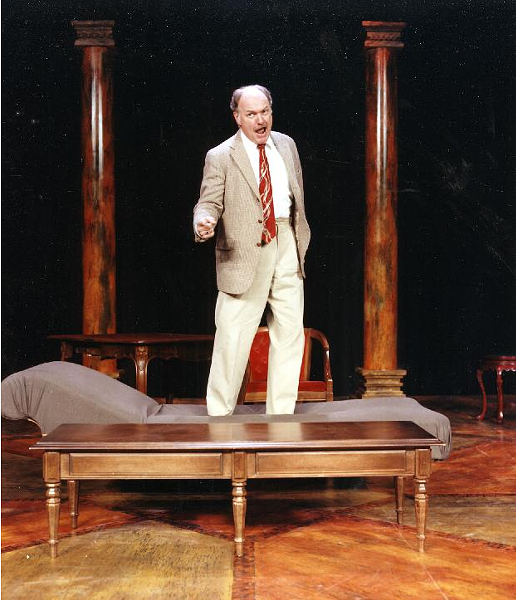 "Tony Lee Garner in ""The School for Scandal"" at Rhodes' McCoy Theatre. - COURTESY OF THE INTERNET"