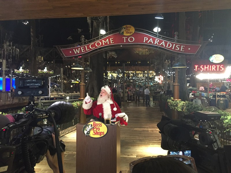 Santa Claus announces Thursday that 2 million have visited Bass Pro Shops at the Pyramid. - TOBY SELLS