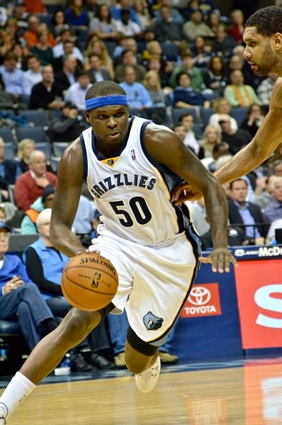 Zach Randolph's jersey number in this photo: also the maximum effort level he'll expend in a preseason game against the Sixers. - LARRY KUZNIEWSKI