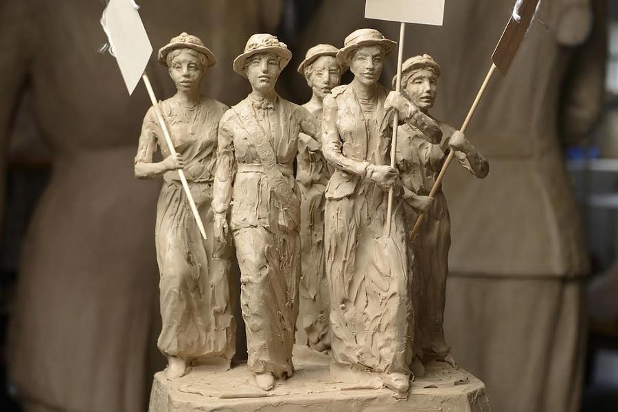 clay maquette of suffrage statue