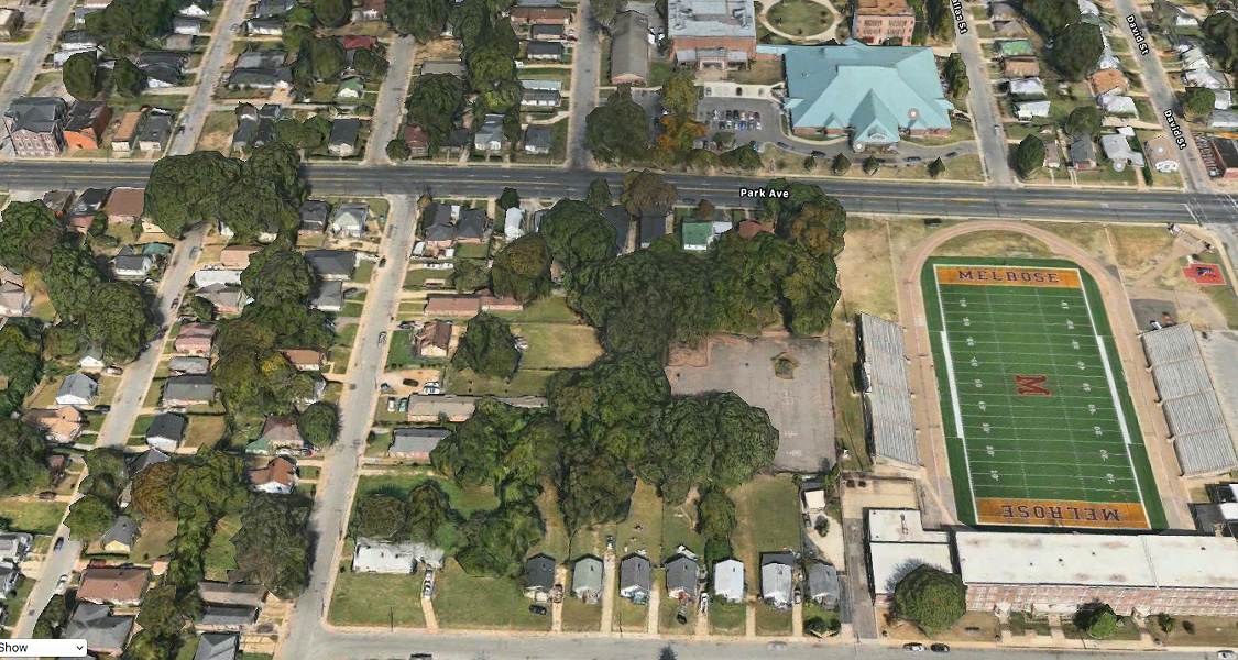 Aerial shows Melrose High School football stadium and the Orange Mound Community Center. - APPLE MAPS