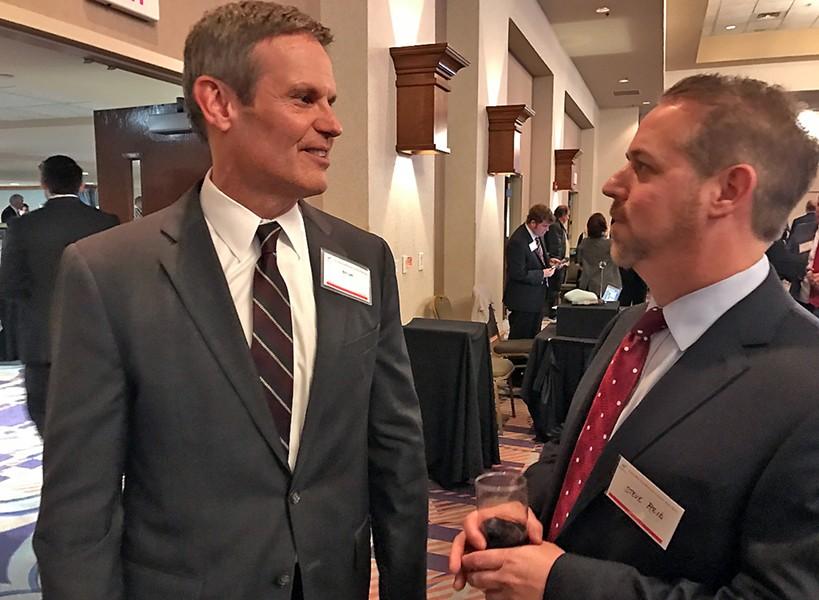 Gubernatorial candidate Bill Lee with pollster/consultant Steven Reid, a campaign associate - JB