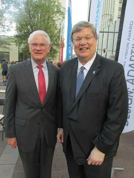 Shelby County Mayor Mark Luttrell and Mayor Jim Strickland at Downtown Memphis Commission 40th Anniversary celebration/Vision awards ceremony. - MICHAEL DONAHUE