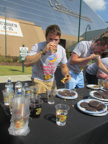"""Brett """"The Brranimal"""" Healey participated in the MoonPie Eating Contest at Bass Pro Shops at the Pyramid. - MICHAEL DONAHUE"""