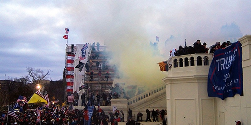 Tear gas outside the  United States Capitol, 2021