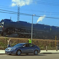 Big River Crossing Ceremony The big locomotive on the move JB