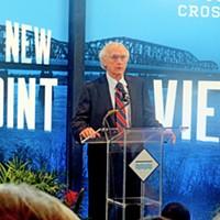 Big River Crossing Ceremony Charlie Newman at bridge event JB