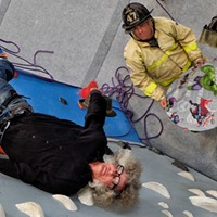 I didn't really need a safety net when I tried my hand - and feet - at clmbing at the Memphis Rox Climbing + Community facility. Firefighters Stephen Zachar and Jensen Pilant obliged.