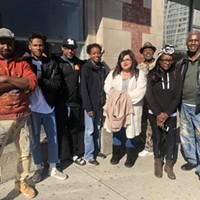 The seven Memphis artists with Willis Humphrey, a staff artist with MuralArts Philadelphia