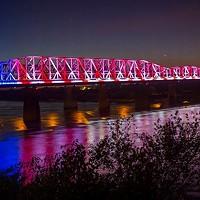 LED lights illuminate the Harrahan Bridge at Big River Crossing.