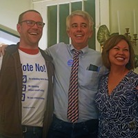The thrill of victory was experienced by (l to r) Aaron Fowles, Steve Mulroy, and Racquel Collins, opponents of the losing referendum to repeal Instranr Runoff Voting.