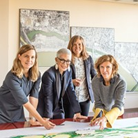 Kate Orff (SCAPE), Carol Coletta (Memphis River Parks Partnership), Gia Biagi  (Studio Gang), and Jeanne Gang (Studio Gang), [from left to right], usher in an ambitious new look for the Memphis riverfront.