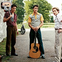 (From left to right) Dustin Ingram as Carl Perkins,  Kevin Fonteyne as Johnny Cash, Drake Milligan as Elvis Presley, and Christian Lees as Jerry Lee Lewis