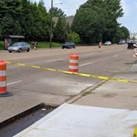 Construction begins on an enhanced crosswalk on Poplar near the Central Library