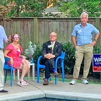 City Council Position 3 candidate Jeff Warren (far left) with supporters at a Thursday afternoon fund-raiser. From left: Kathy Fish, co-host of the affair; Congressman Steve Cohen; former County Commissioner Steve Mulroy, and County Commission Chairman Van Turner.   Cohen got off a shot at political consultant Brian Stephens, who, said Cohen, was interested in making money, not the welfare of the city, and had talked one of Warren's opponents into moving from the Position 1 race, where Stephens already had a client, in order to maximize his potential profit.