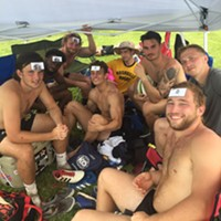 """I'm getting a lot of mileage out of my """"We Saw You"""" business cards. This is the Nashville Rugby team at the Elvis 7s rugby tournament in Millington. This is not a new addition to the team's uniform."""