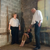Aliza Moran and Greg Boller torment David Hammons in New Moon Theatre's production of The Pillowman. It opens October 11th at TheatreWorks.