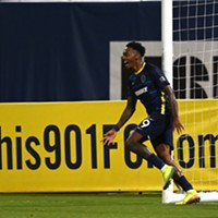 Keanu Marsh-Brown celebrates after scoring the winner in 901 FC's 1-0 victory over St. Louis.
