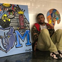 Jarvis Howard and a painting he did for Oak Court Mall.
