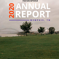 The cover of Memphis In May's 2020 annual report shows an empty Tom Lee Park.