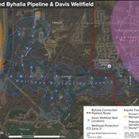 This image shows how the pipeline would cut through a drinking-water well field in southwest Memphis.
