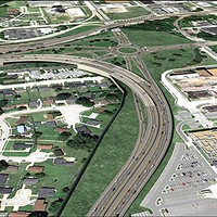 An artists rendering of the proposed new interchange at I-55 and Crump.