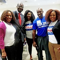 Mayoral candidate Harold Collins and Council candidate Detric Golden quickly had a conversation group started.