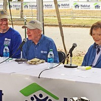 Habitat CEO Reckford, President Jimmy Carter, and Rosalynn Carter at work site on Monday