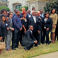 Drawing a crowd of local and statewide Democrats at a party fund-raiser over the weekend was visiting U.S. Senator Cory Booker (D-NJ). Booker is the tall, balding fellow behind Mayor AC Wharton.