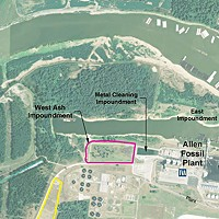 Map of the Allen Fossil Plant and its ash impoundments