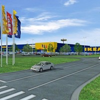 An artist's rendering shows those iconic blue panels of IKEA Memphis.