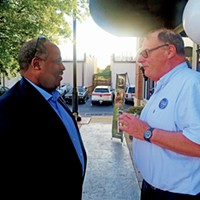Shelby County Democratic Party chairman Michael Pope (left) with Germantown Democratic Club president Dave Cambron at a party fundraiser on Thursday