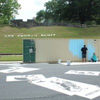 Volunteers Paint RiverPlay Mural